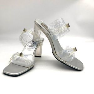 Touch Ups Clear Block Heels Strappy Lucite Shoes